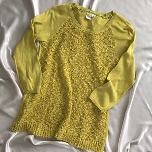 Anthropologie Sweater Chartreuse